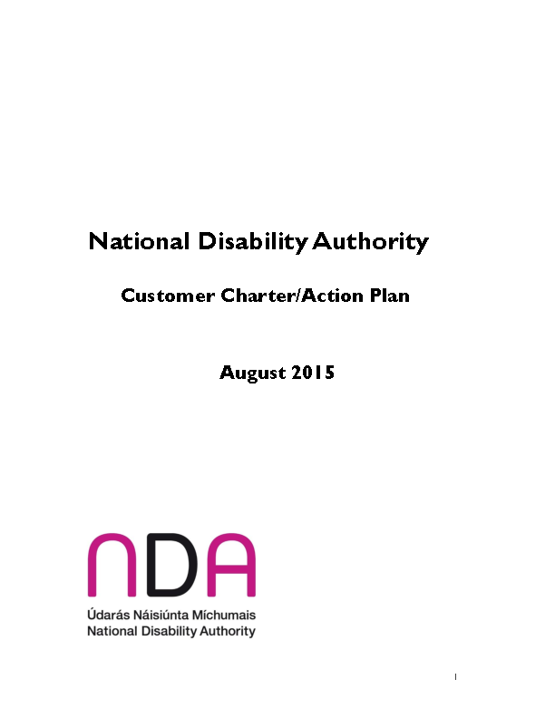 Customer Charter/Action Plan front page preview
