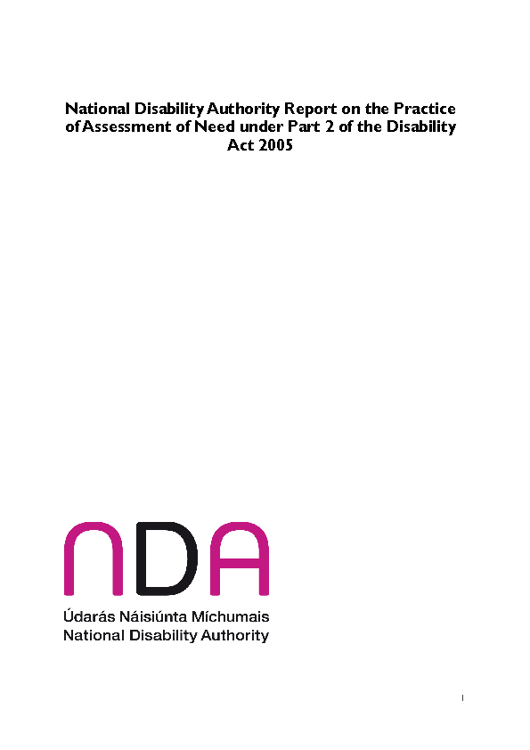 Report on the Practice of Assessment of Need under Part 2 of the Disability Act 2005 front page preview
