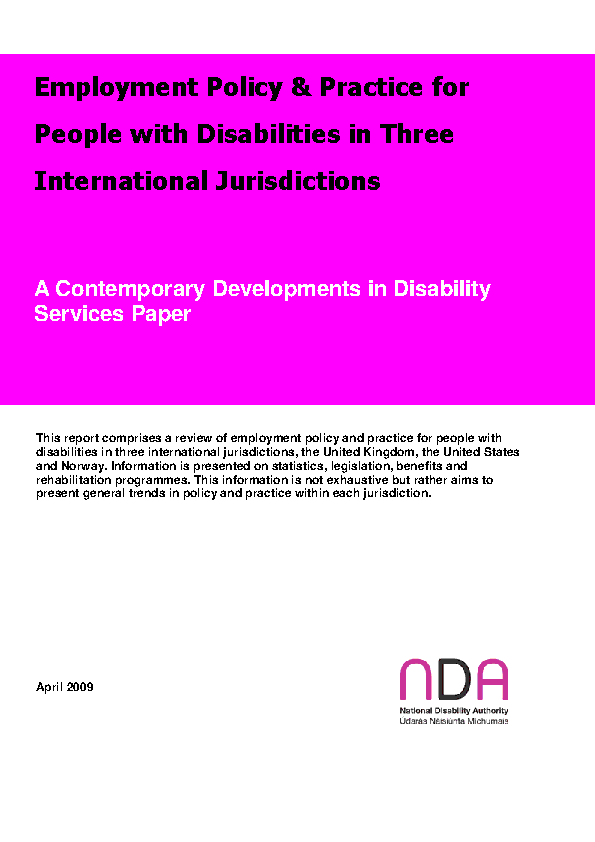 Employment Policy and Practice for PWD in Three International Jurisdictions front page preview