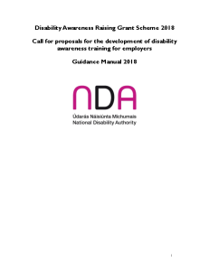 Guidance Manual Disability Awareness Raising Grant 2018 front page preview
