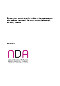 Research on current practice to inform the development of a national framework for person-centred planning in disability services front page preview