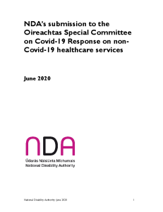 NDA's submission to the Oireachtas Special Committee on Covid-19 Response on non-Covid-19 healthcare services front page preview