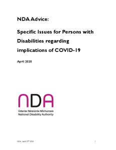 NDA Advice: Specific Issues for Persons with Disabilities regarding implications of COVID-19 front page preview
