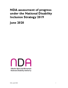 NDA assessment of progress under the National Disability Inclusion Strategy 2019 front page preview
