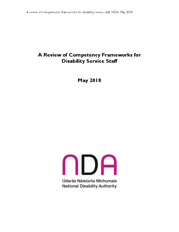 Review of Competency Frameworks Disability Service Staff front page preview