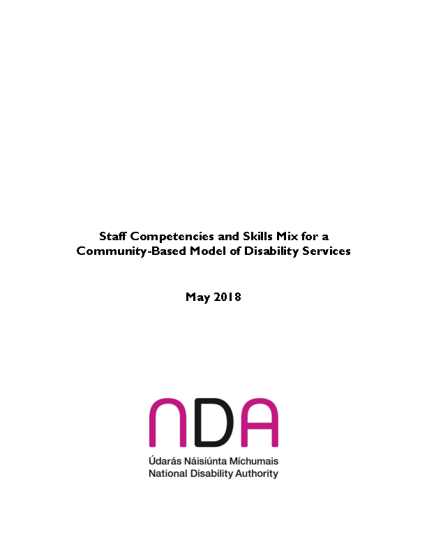 Staff Competencies and Skills Mix for a Community-Based Model of Disability Services front page preview