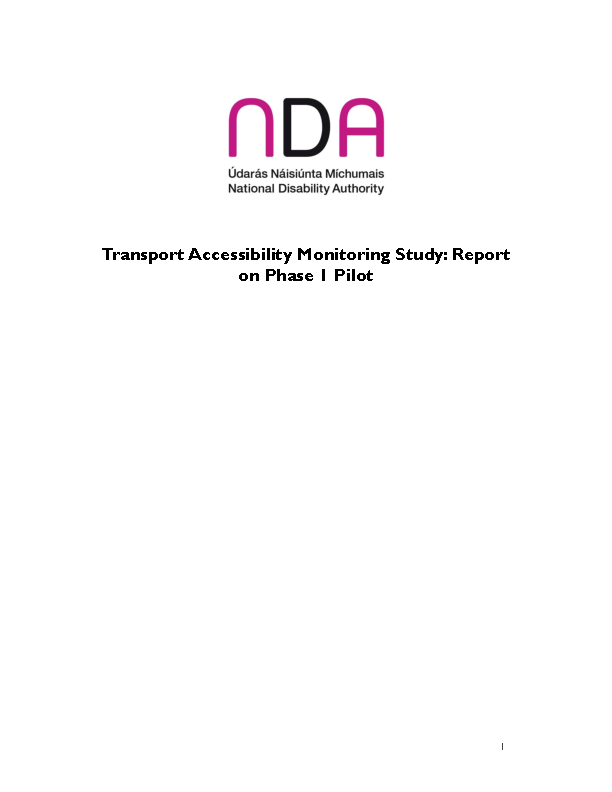 Transport Accessibility Monitoring Study Report on Phase 1 Pilot Executive Summary front page preview