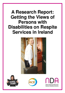 Respite Research, Easy to Read Report, pdf front page preview