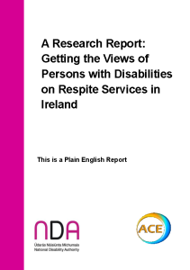 Respite Research Report - Plain English, pdf front page preview
