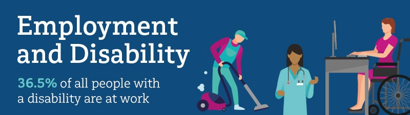 NDA Factsheet 2 Employment and Disability. 36.5% of all people with a disability are at work