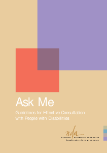 """Ask Me"" Guidelines for Effective Consultation with People with Disabilities front page preview"