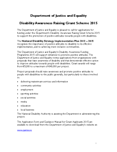 Advert Disability Awareness Raising Grant Scheme 2015 front page preview