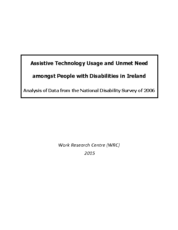Assistive Technology Usage and Unmet Need amongst People with Disabilities in Ireland front page preview