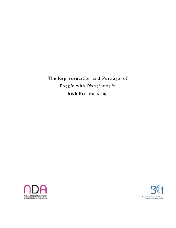 BCI NDA Report on Representation and Portrayal of People with Disabilities in Irish Broadcasting front page preview