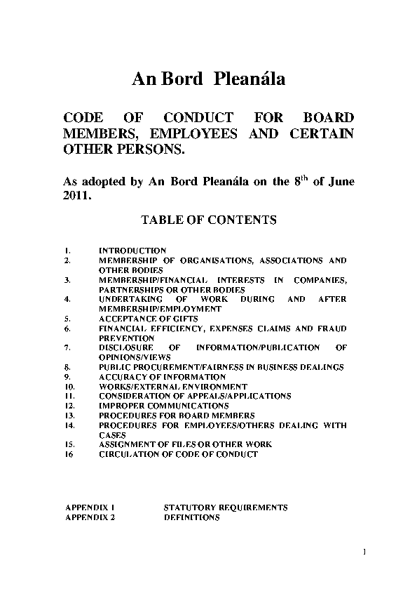 Code of Conduct for Board Members front page preview