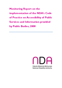 Monitoing Report on implementation Code of Practice on Accessibility Public Services and Information provided by Public Bodies 2008 front page preview