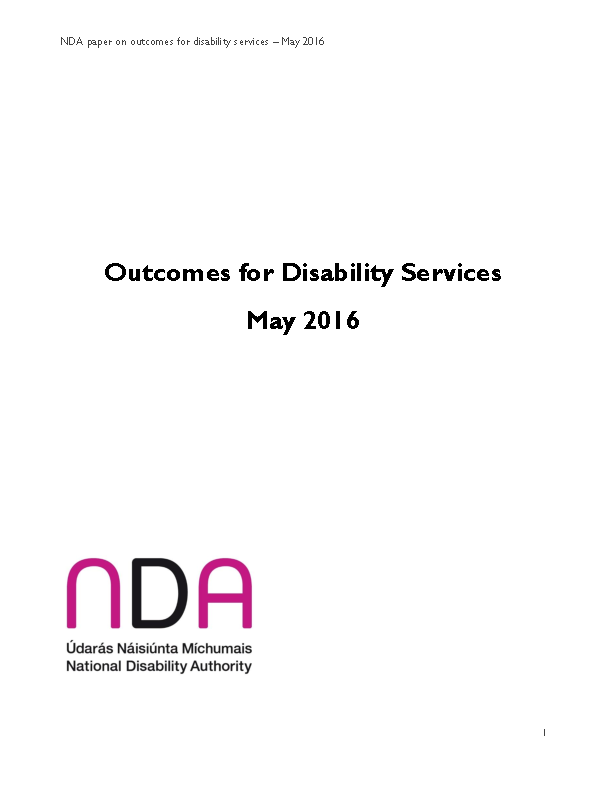 NDA Paper on Outcomes for Disability Services May 2016 front page preview