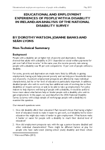 Non-Technical Summary - Educational and Employment Experiences of People with Disabilities in Ireland (PDF version) front page preview
