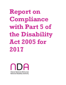 Report on Compliance with Part 5 of the Disability Act 2005 for 2017 front page preview