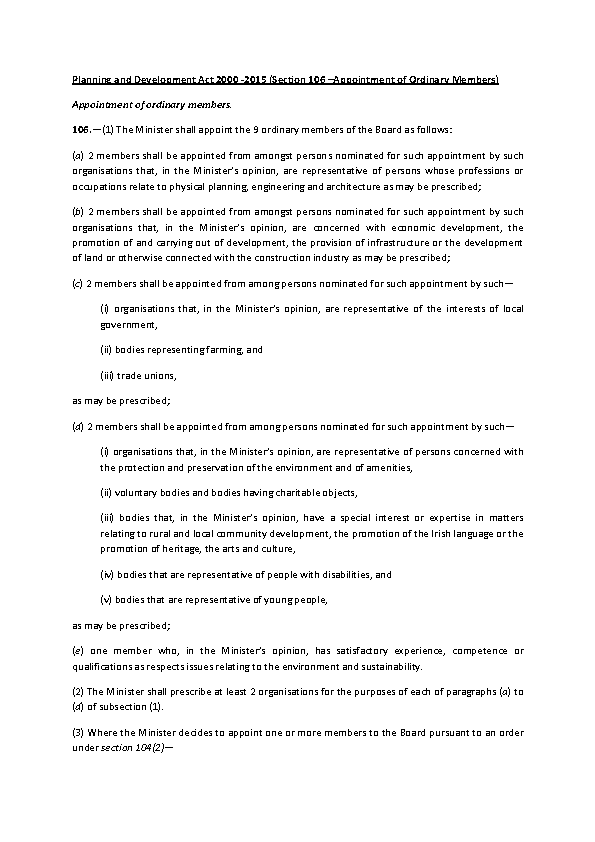 Planning & Development Act 2000 - 2015 (Section 106) front page preview