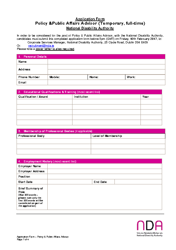 Policy and Public Affairs Advisor (Temporary) Application Form front page preview