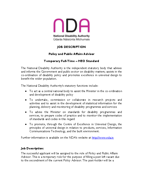 Policy and Public Affairs Advisor (Temporary) Job Description front page preview