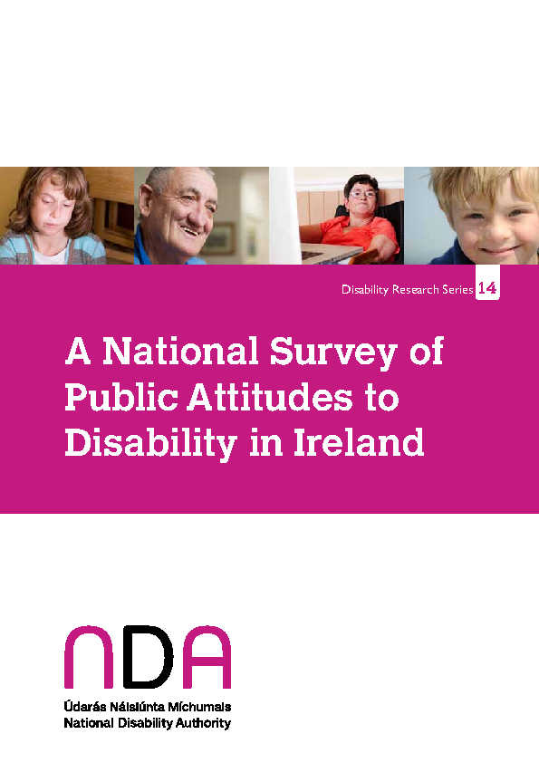 Public Attitudes to Disability in Ireland Survey 2011 PDF front page preview