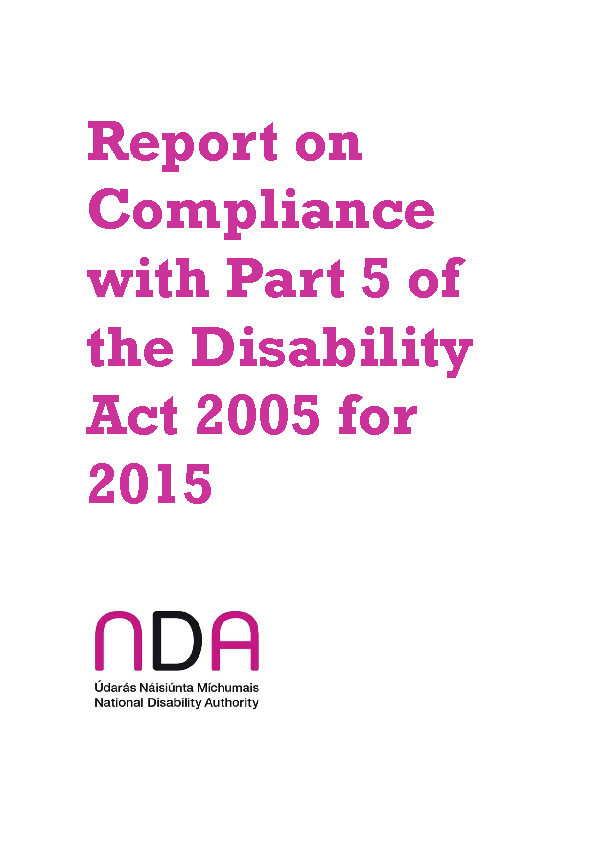 Report on Compliance with Part 5 of the Disability Act 2005 for 2015 front page preview