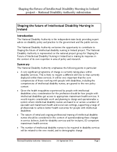Shaping the Future of Intelletual Disability Nursing in Ireland front page preview