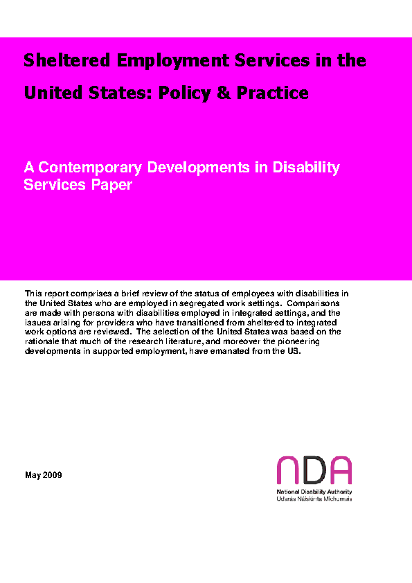Sheltered Employment Services in the United States: Policy and Practice front page preview