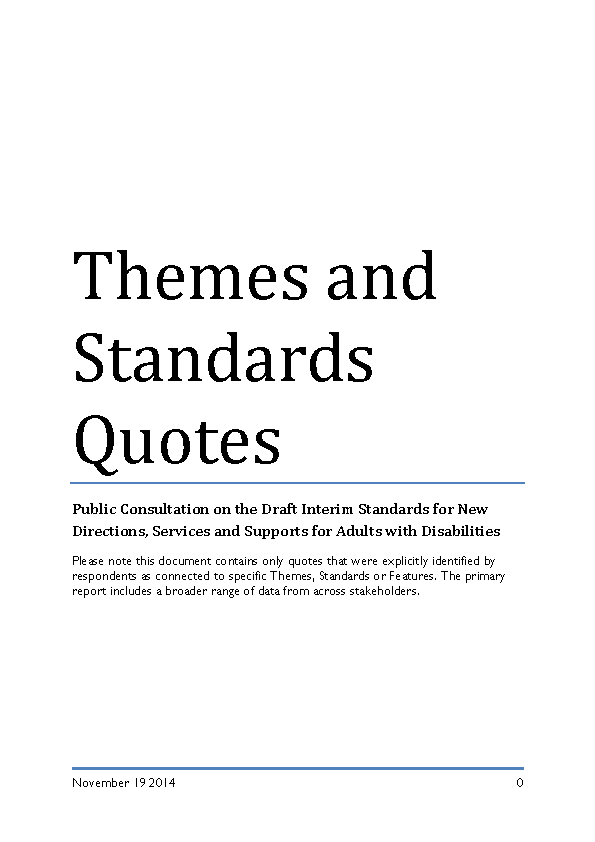 Supplementary Report on Public Consultation on Draft Interim Standards for New Directions front page preview
