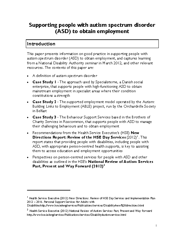 Supporting people with autism spectrum disorder to obtain employment front page preview