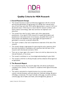 NDA Research Quality Criteria front page preview