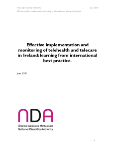 Effective implementation and monitoring of telehealth and telecare in Ireland, learning from international best practice front page preview