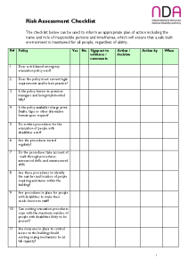 Risk Assessment Checklist front page preview